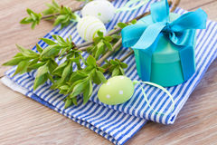 Green tree twigs and easter eggs Stock Photography