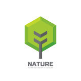 Green tree - vector business logo template concept illustration in flat style. Landscape forest creative sign. Nature symbol. Design element stock illustration