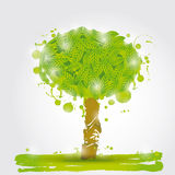 Green tree watercolor stains on a white background. Ecology Concept.  Royalty Free Stock Photos