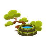 Green Tree And Well, Bonsai Miniature Traditional Japanese Garden Landscape Element Vector Illustration Stock Photo