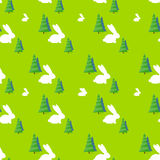Green tree white rabbit pattern vector Stock Photography