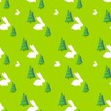 Green tree white rabbit pattern vector Stock Photography