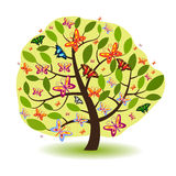 Green Tree With Butterflies Royalty Free Stock Photography
