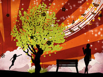 Green tree and woman royalty free illustration