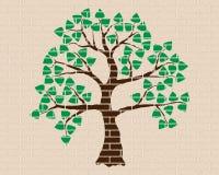 Green tree, wood, brick wall, decoration. Green tree  with leaves on the brick wall, decoration and ornament Stock Images