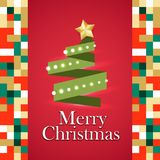 Christmas tree gifts material. Green tree Xmas garland lights. Red vector illustration template. Winter seasonal new year greeting card. Material flat style Royalty Free Stock Images