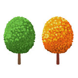 Green Tree and yellow Tree  on a white background. Abstract stylized trees. Natural vector illustration Royalty Free Stock Photos