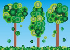 Green trees. Illustration of abstract trees and leaves Stock Photo