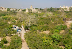 Green trees around the indian village. CHITTORGARH, INDIA: Green trees around the indian village with historical temples. Chitaurgarh has population about 117 Stock Image