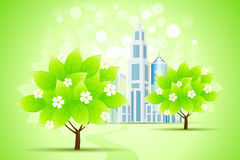 Green Trees and City Stock Image