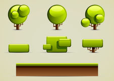 Green trees for creating video games. Set of green trees and ground for creating video games Royalty Free Stock Photo