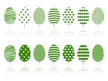 Green trees decoration set. Royalty Free Stock Photo