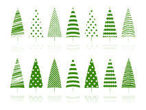 Green trees decoration set. Stock Image