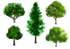 Green Trees. Five different green trees consisting of triangles Stock Photos