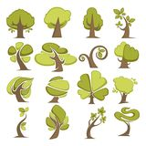 Green trees flat vector icons eco nature symbols of tree leaf Stock Image