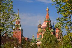 Green trees and grass on the background of the Moscow Kremlin and the red square in the park Zaryadye royalty free stock photos