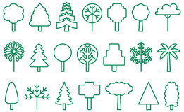 Green trees and grasses. A set of green outline vector icons with various trees and grasses Stock Photography