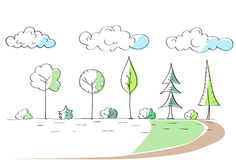 Green Trees Hand Draw Park Simple Line Stock Image