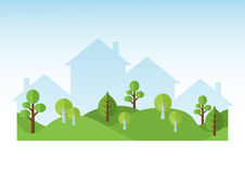 Green Trees And Houses Silhouettes. Green street with trees and silhouettes of houses. Ecosystem concept. Flat design illustration Stock Photos