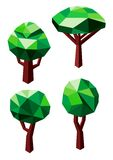 Green trees icons in 3D low poly style Stock Photography