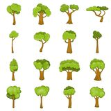 Green trees icons set, cartoon style. Green trees icons set. Cartoon illustration of 16 green trees icons for web stock illustration