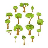 Green trees icons set, cartoon style. Green trees icons set. Cartoon illustration of 16 green trees vector icons for web Royalty Free Stock Images