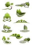 Green trees in landscapes icons Stock Photo