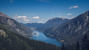 Green Trees on Mountain Near Body of Water Stock Images