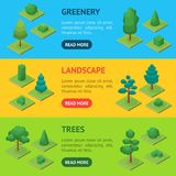 Green Trees Park Banner Horizontal Set 3d Isometric View. Vector. Green Trees and Shrubs Public Park or Square Banner Horizontal Set 3d Isometric View. Vector Stock Photo