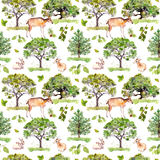 Green trees. Park, forest pattern with forest animals - deer, rabbits, antelope. Seamless background. Watercolor pattern. Green trees. Park, forest pattern with Royalty Free Stock Image
