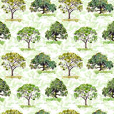 Green trees. Park, forest repeating pattern. Background with green leaves. Watercolor. Green trees. Park and forest repeating pattern. Background with green royalty free stock photo
