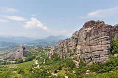 Green trees and rock mountains at daylight. In Greece, Corfu royalty free stock photo