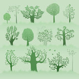 Green trees set Royalty Free Stock Photos