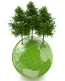 Green trees on small planet. In the design of the information related to the global problems Royalty Free Stock Photos