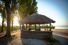Green trees and summer houses on river beach in. Sunrise , nature Royalty Free Stock Images