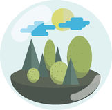 Green Trees and Sun in a Transparent Bubble. Ecology Concept. Vector Illustration Stock Photos