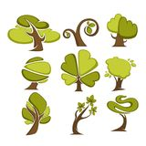 Green trees and tree leaf icons or logo templates. Royalty Free Stock Photo