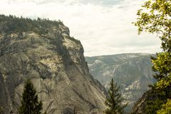 Green Trees Under Tall Gray Rocky Cliff Royalty Free Stock Photo