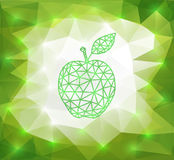 Green triangle apple with background Stock Photos