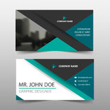 Green triangle corporate business card, name card template ,horizontal simple clean layout design template ,. Business banner template for website Stock Images