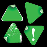 Green triangle labels Stock Photos