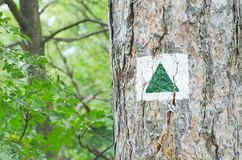 Green Triangle Tourist Sign Stock Images