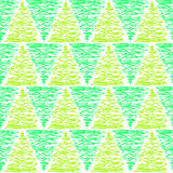 Green Triangle Trees Seamless Pattern. Abstract trees green tone geometric doodle triangles background Stock Photos