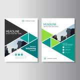Green triangle Vector annual report Leaflet Brochure Flyer template design, book cover layout design. Abstract blue presentation templates royalty free illustration