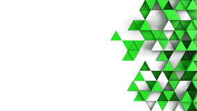 Green triangles extruded and free space 3D render. Green triangles extruded and free space. Abstract geometric background. 3D render illustration Royalty Free Stock Photography