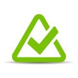 Green triangular tick icon. Vector illustration Royalty Free Stock Photo