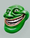 Green trollface. Internet troll 3d illustration. Green laughing internet troll head 3d illustration Royalty Free Stock Photo