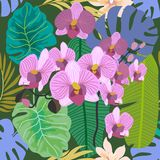 Green tropical background with blooming orchids and palm leaves. Seamless botanical pattern with aloha motifs. Trendy design for textile, cards and invitations Stock Photo