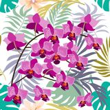 Green tropical background with blooming yellow and purple orchids, ferns and palm leaves. Seamless botanical pattern with aloha motifs. Trendy design for Royalty Free Stock Photo