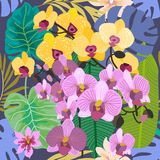 Green tropical background with blooming yellow and purple orchids and palm leaves. . Seamless botanical pattern with aloha motifs. Trendy design for textile Stock Photo